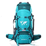 Topsky Outdoor Sports Camping Hiking Mountaineering Waterproof Backpack Unisex 70L Large Travel Daypacks Bags with Rain Cover (Can extension to 80L) (Cyan)