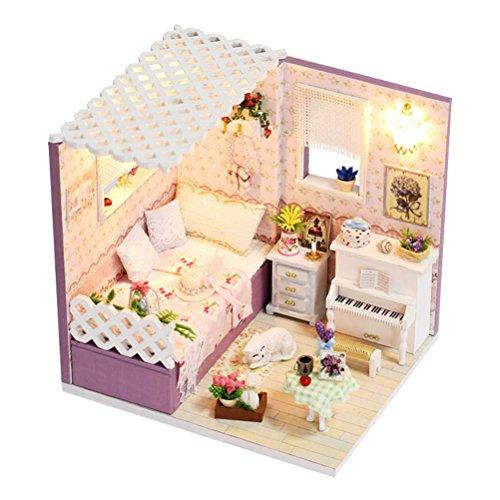 TOYMYTOY ドールハウス ミニチュア ハウスキット おもちゃ 木製 DIY LEDライト付き 手作りキットセット 初心者 組み立て簡単 女の子の家 子供 誕生日/入学/新年 プレゼント 防塵カバー付属(紫)