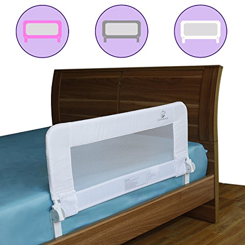[Toddler Bed Rail Guard for Convertible Crib, Kids Twin, Double, Full Size Queen & King, Bedrails by ComfyBumpy (White)] (Double Side Guard)