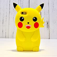 Pikachu Case With Neck Strap For iPhone 6 / iPhone 6s Regular Small Size 4.7 Back Covers Soft Silicone Material 3D Cartoon Design Ultra Thick Drop Resistant Cute Protective Yellow Color