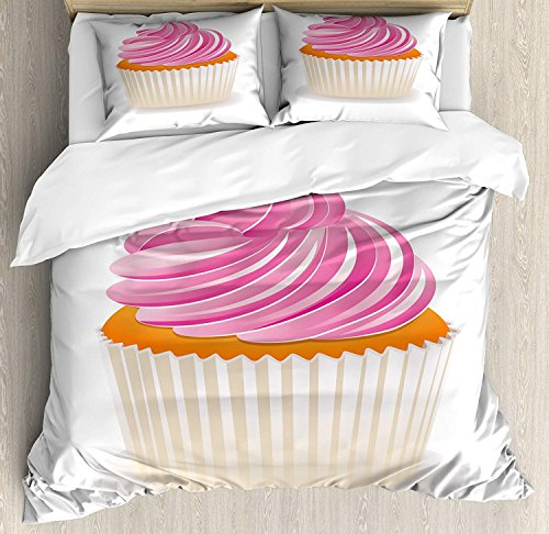 Orange and Pink 4 Piece Bedding Set Duvet Cover Set Full Size, Illustration of a Pink Cupcake Celebration Delicious Dessert Baking, Luxury Bed Sheet for Childrens/Kids/Teens/Adults, Pink Orange Cream