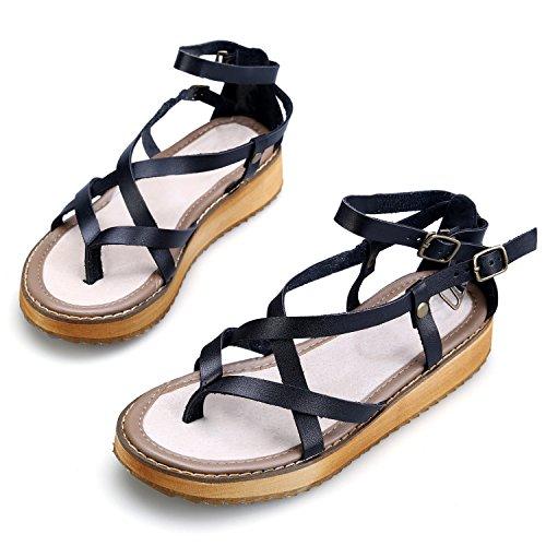 Smilun Lady's Flip Flops Thongs Sandal Roman Sandal Shoes Cross Strappy Gladiator Wedge Sandals Black cN3ycwF