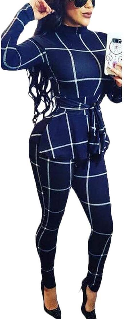 UUYUK Women Fashion Plaid Long Sleeve Slim Fit Belted Jumpsuit Romper
