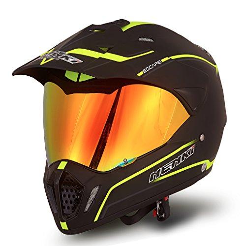 NENKI NK-310 Dual Sport Enduro Motocross & Motorcycle Helmet Dot Approved With Iridium Red Visor Attached Clear Visor (XL 61CM, Matt Black & Fluo Yellow)