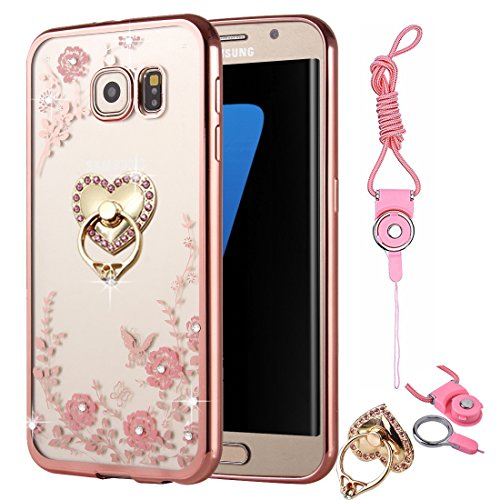 Galaxy S7 Case , BestAlice Slim Soft Gel Clear Bling Case Rose Gold Metal Plating Bumper Cover & Lanyard Neck Strap For Samsung Glaxy S7 , Heart Ring Stand -
