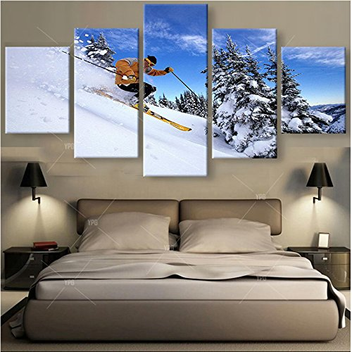 [LARGE] Premium Quality Canvas Printed Wall Art Poster 5 Pieces / 5 Pannel Wall Decor Skiing Painting, Home Decor Pictures - With Wooden - Frame Art Wall
