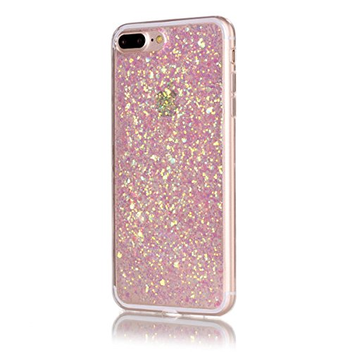 Price comparison product image Moonmini iPhone 8 Plus Case, Ultra Slim Bling Glitter Flexible Gel TPU Silicone Bumper Soft Hybrid Back Protective Shell for iPhone 7 Plus/ iPhone 8 Plus 5.5 inch (Pink)
