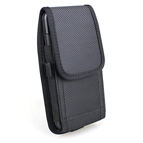 aubaddy Vertical Phone Holster Nylon Pouch Holster Case with Belt Loops iPhone 6/6s/7/8 - Fits with a Thin Case (Black)