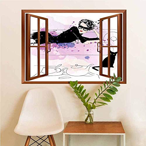 Kitten Vinyl Removable Decals Girl with Sunglasses Lying on Couch Cat in Home Theme with Stains Animals Vinyl Black Lilac ()