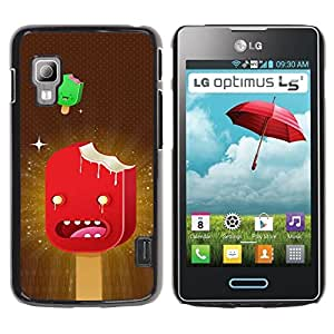 Qstar Arte & diseño plástico duro Fundas Cover Cubre Hard Case Cover para LG Optimus L5 II Dual E455 / E460 / Optimus Duet ( Ice Cream Art Cartoon Characters Red Stars)