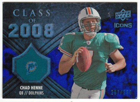 Chad Henne 207/250 (Football Card) 2008 Upper Deck Icons Class of 2008 # CO8 BLUE (Icon 2008)