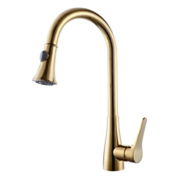 KES Brass Singel Handle Pull Down Kitchen Faucet With Retractable Pull Out  Wand, High Arc