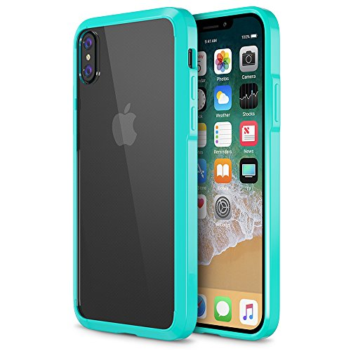 Trianium Case Compatible for Apple iPhone X Case 2017 ONLY (5.8 Display Phone) Clarium Series with Reinforced TPU Hybrid Cushion and Rigid Back Panel Covers [Enhanced Hand Grip] -Turquoise/Clear