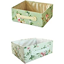 RayLineDo 2X Foldable Canvas Storage Box Bag Clothes Blanket Closet Sweater Organizer Pastoral style Home Docor Box Posy Green & White