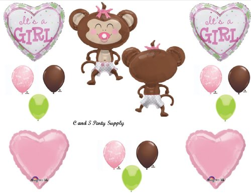 It's a Girl Monkey Wearing Diaper Baby Shower Balloons Decorations Pink Pacifier -