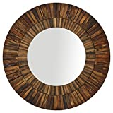 Stone & Beam Round Layered Wood Mirror, 42'' H, Dark Wood Finish