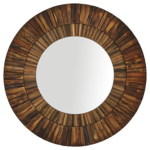 Stone & Beam Round Layered Rustic Wood Hanging Wall Mirror Decor, 42 Inch Height, Dark Wood Finish