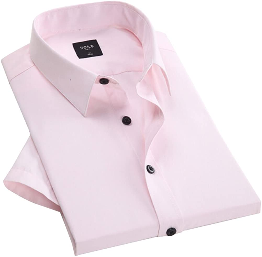 Classics Pure Color Mens Fitted Short Sleeve Dress Shirt Pink XXL Asian Size