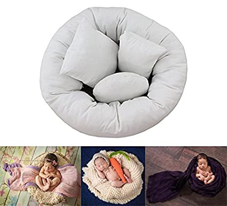 4 PC Newborn Photo Props, Baby Photography Basket Filler Wheat Donut Posing Props Baby Pillow M&G House