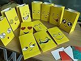 ALUNME12PCS Premium Emoji Paper Bags Kids Birthday Party Favor Emoji Gift Bags for Goodies,Candies,Popcorn,12 Different Emoji Designs