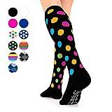 Go2Socks GO2 Compression Socks for Men Women Nurses Runners 16-22 mmHg (Medium) - Medical Stocking Maternity Travel - Best Performance Recovery Circulation Stamina - (Black w/Polka Dot, Small)
