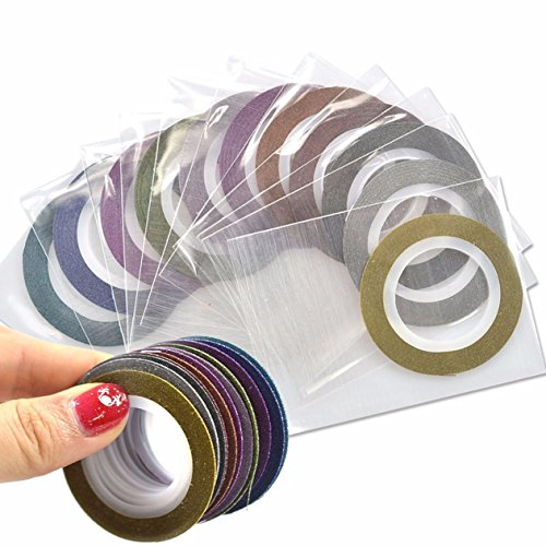 12 Pack 1mm Striping Tape Line Nail Art Sticker Water Transfer Nails Wrap Paint Tattoos Stamp Plates Templates Tools Tips Kits Delightful Popular Xmas Winter Snow Holiday Stick Tool Vinyls -