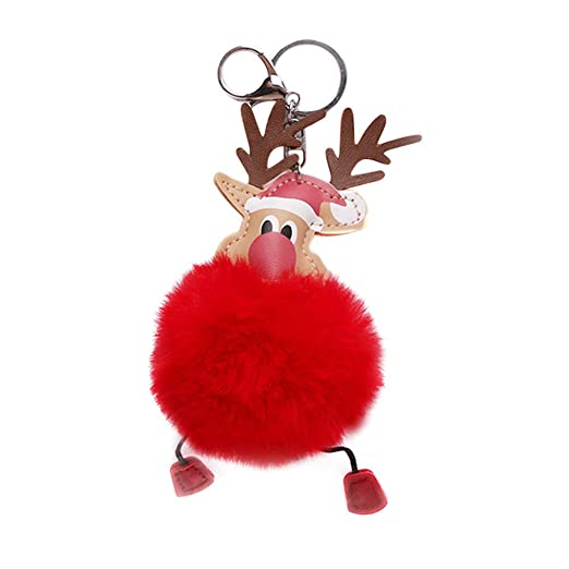 Christmas Elk Deer Fur Ball Plush Keychains Backpack Pendant Bag Accessories Animal Doll Plush Key Ring For Party Gifts Strong Packing Woodworking Machinery & Parts