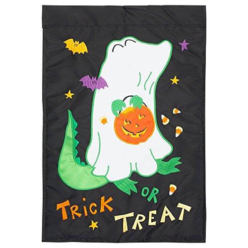 Magnolia Garden Trick Or Treat Halloween Black 18 x 13 Spun Polyester Outdoor Garden Flag -