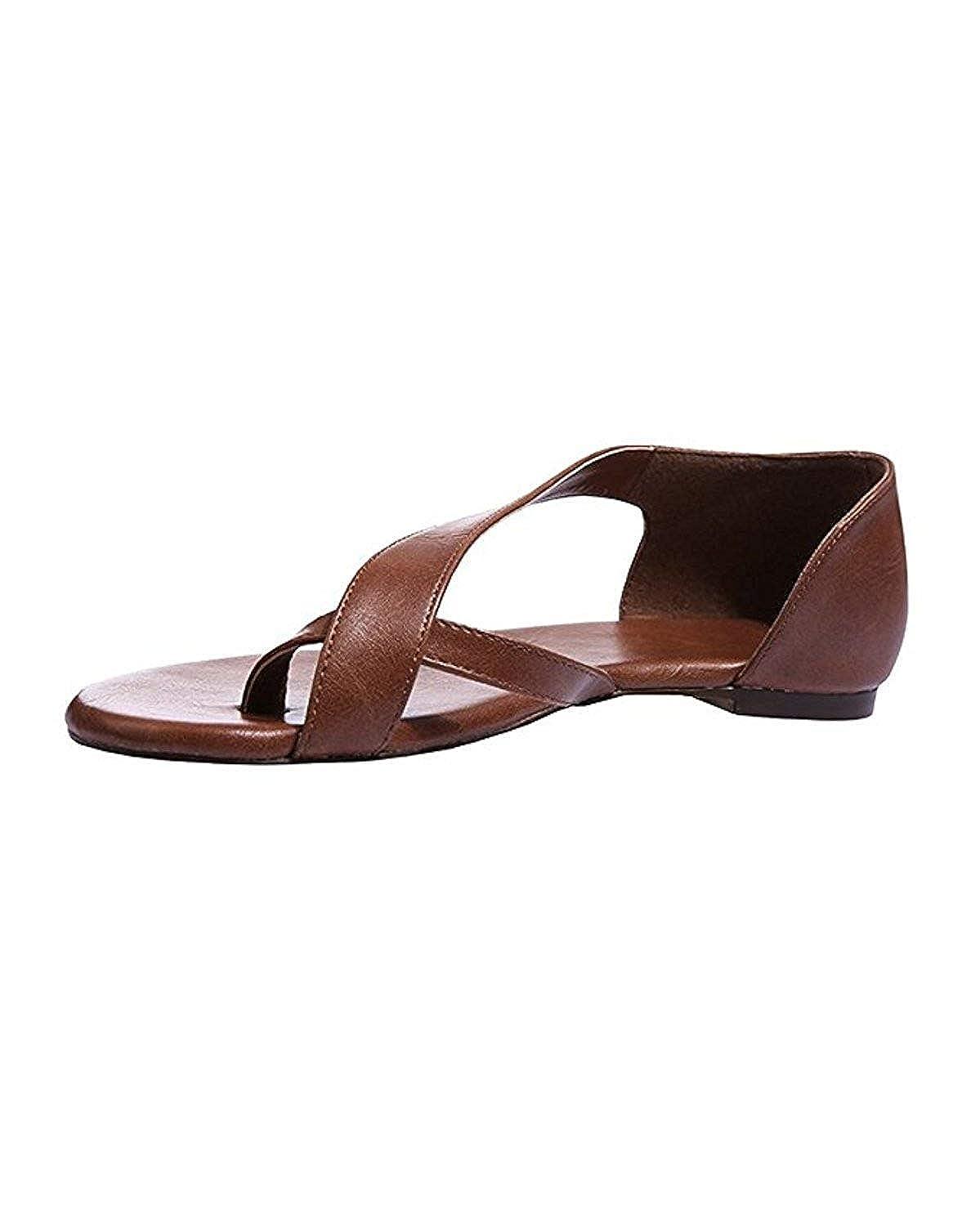 Huiyuzhi Womens Slip On Flip Flops Ring Toe Strappy Summer Gladiator Flat Sandals