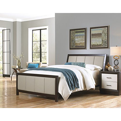 Wesley Allen King Beds - Monterey Complete Bed with Wood Panels and Mouse Upholstery, Espresso Finish, California King