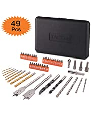 Spade Drill Bit Set,Tacklife 49 Piece Combination Accessory Set Including Drill, batching Head, Sleeve for Wood, Metal, Plastic and Stone Surface | WD01
