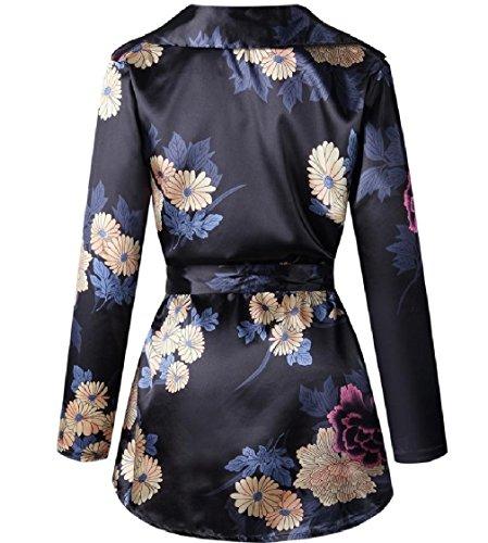 Coolred-femmes Manches Longues Tunique Bandage Imprimé Fleur V Cou Court Robe Noire