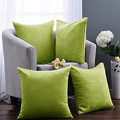 Decorative Throw Cushion Covers for Chair - Pony Dance Home Decorative Short Plush Pillow Covers Supersoft Pillowcases for Living Room,Grass Green,18