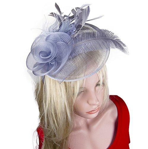 Women Feather Fascinator Mesh Net Sinamay Hat Headband Silver Grey