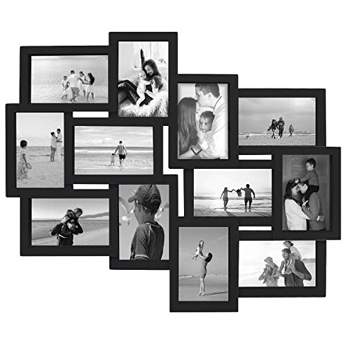 (Jerry & Maggie - Photo Frame 19x22 Black Picture Frame Selfie Gallery Collage Wall Hanging for 6x4 Photo - 12 Photo Sockets - Wall Mounting Design)