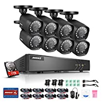 ANNKE 8CH HD-TVI 1080P Lite DVR Video Security System w/ 8x 1.0MP Indoor/Outdoor Weatherproof Bullet Cameras with IR Night Vision LEDs, E-Cloud Service, One 1TB HDD