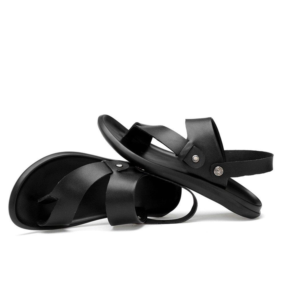 Männer Casual Strand Flip Flops Echtem Leder Strand Casual Hausschuhe Rutschfeste Sandalen Schwarz,für Männer schwarz 74b0f0