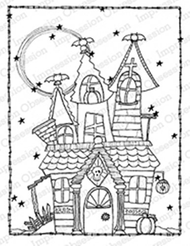 IO Haunted House Wood Mounted Rubber Stamp by Impression Obsession, Inc. - Lindsey Ostrom L19015 -