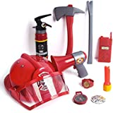 Fireman Toys Firefighter Costume for Kids Fireman Gear Pretend Play Set with Helmet, Megaphones, Extinguisher, Flashlight and Accessories, 10 pcs