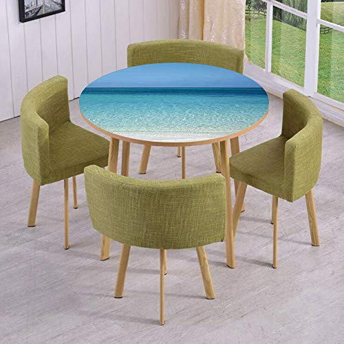 iPrint Round Table/Wall/Floor Decal Strikers/Removable/Clear Water at The Beach in Atlantic Sea Cuba Coasts with Fantastic Sky Scenery Art/for Living Room/Kitchens/Office ()