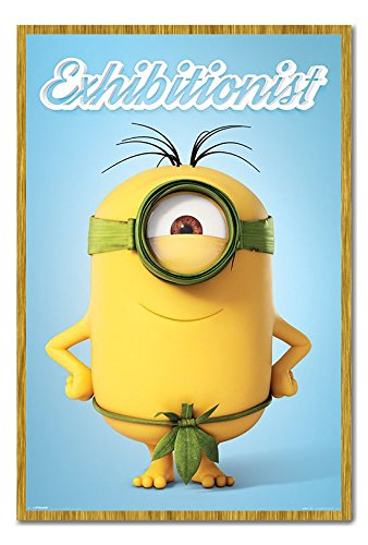 Minions The Exhibitionist Poster Cork Pin Memo Board Oak Framed - 96.5 x 66 cms (Approx 38 x 26 inches) -