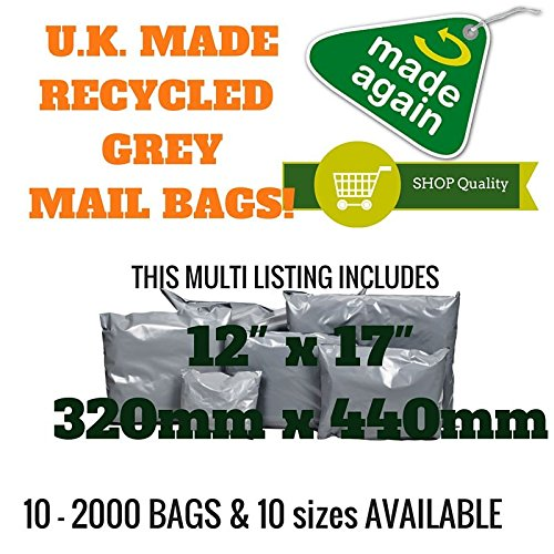 50 x Grey Recycled Polythene Mailing Bags - 320 x 440mm (12' x 17') - Post Plastic Polybag Poly Strong Self Seal Packaging Products Online