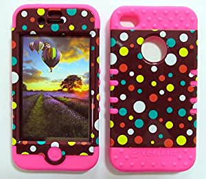 SHOCKPROOF HYBRID CELL PHONE COVER PROTECTOR FACEPLATE HARD CASE AND HOT PINK SKIN WITH STYLUS PEN. KOOL KASE ROCKER FOR APPLE IPHONE 4 4S 4G POLKA DOTS ON BROWN MA-TP1610