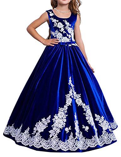 hengyud Blue Velvet Pageant Dresses for Girls 7-16 Flower Girl Dress for Wedding Lace