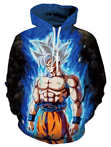 Cool Hoodie Realistic Genuine Sweatshirt Super Dragon Ball Z Hero Silver Gray Hair Retro Hooded Pullover Sportswear Shirts for Teenager Boys Girls Youth Brothers Sisters Daughter
