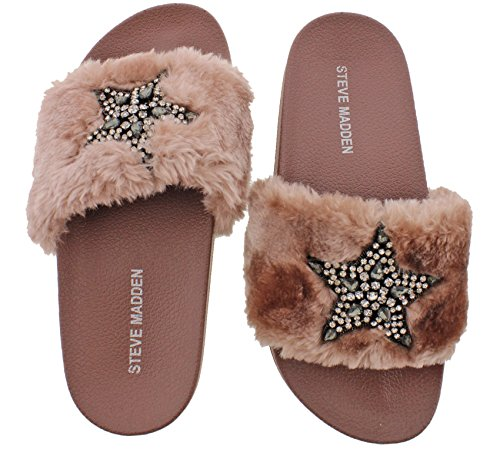 Rose Fur (Steve Madden Shimmer Embellished Faux Fur Slide (6 B(M) US, Rose Multi))