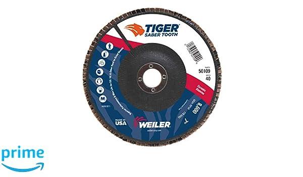 40 Grit Ceramic Aluminum Oxide Pack of 1 Phenolic Backing Weiler Saber Tooth Abrasive Flap Disc Round Hole Type 29 4-1//2 Dia