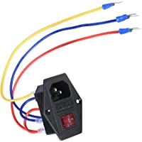BIQU Direct 15A 250 V vippbrytare eluttag med 5 st 16-14 AWG ledningar 3 stift IEC320 C14 inloppsmodul plugg 5A…