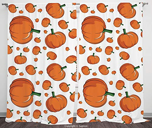 Rod Pocket Curtain Panel Polyester Translucent Curtains for Bedroom Living Room Dorm Kitchen Cafe/2 Curtain Panels/55 x 45 Inch/Harvest,Halloween Inspired Pattern Vivid Cartoon Style Plump Pumpkins -