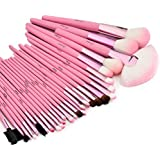 Glow 30 Pc Professional Wooden Handle Make up Brushes Set in Pink Case